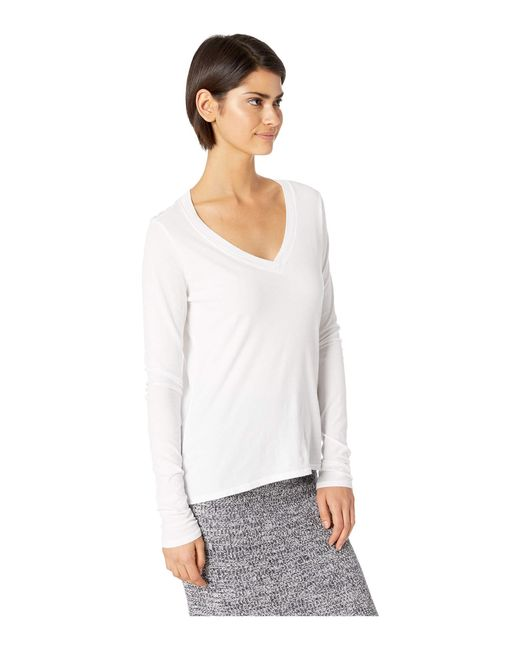 eb200a87 ... Lamade - White Long Sleeve V-neck In Tissue Jersey (black) Women's Long