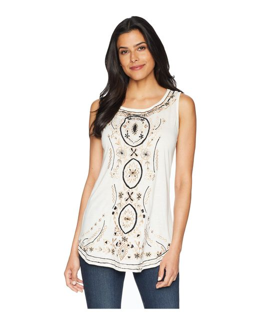 Scully - White Bethia Classy Embroidered Tank With Sewn On Stone Accents - Lyst