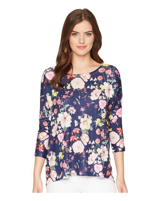 Nally & Millie - Blue Dolman Sleeve Navy Floral Print Tunic (multi) Women's Blouse - Lyst