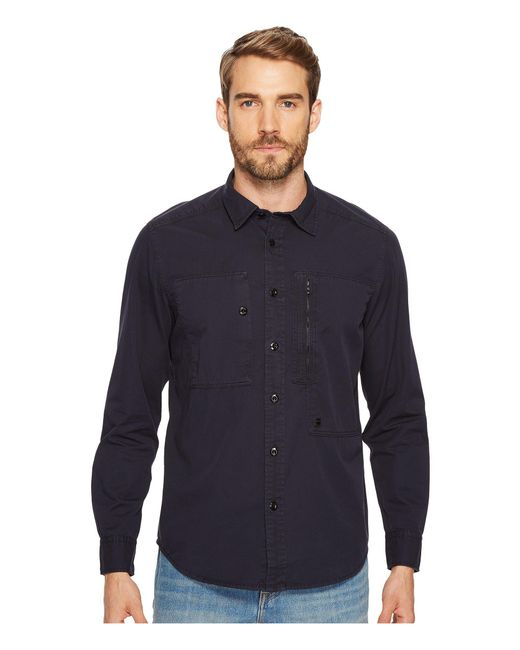 G-Star RAW | Blue Powel Shirt Long Sleeve for Men | Lyst