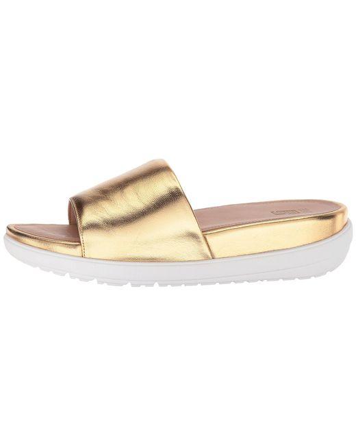 de353e0a15e52 ... Fitflop - Loosh Luxetm Leather Slide Sandals (gold Metallic Leather) Women s  Shoes ...