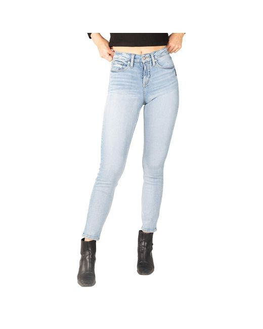 Silver Jeans Co. Blue Avery High-rise Curvy Fit Straight Leg Jeans L94443epx156