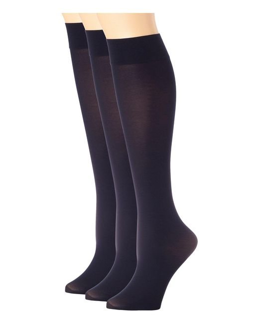 Hue - Blue Soft Opaque Knee High 3-pack (black) Women's Knee High Socks Shoes - Lyst