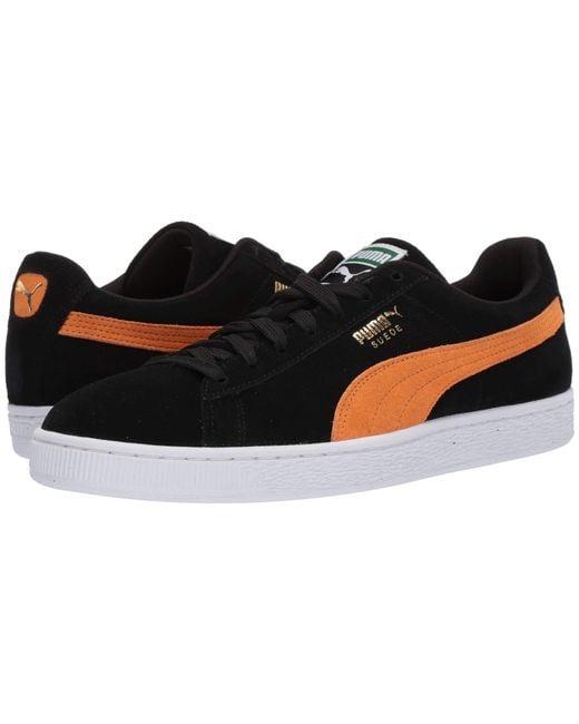 3c48f21f0be5 Lyst - PUMA Suede Classic ( Black orange Pop) Men s Shoes in Black ...