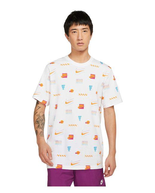 Nike White Nsw Sp Brandmarks All Over Print Tee Clothing for men