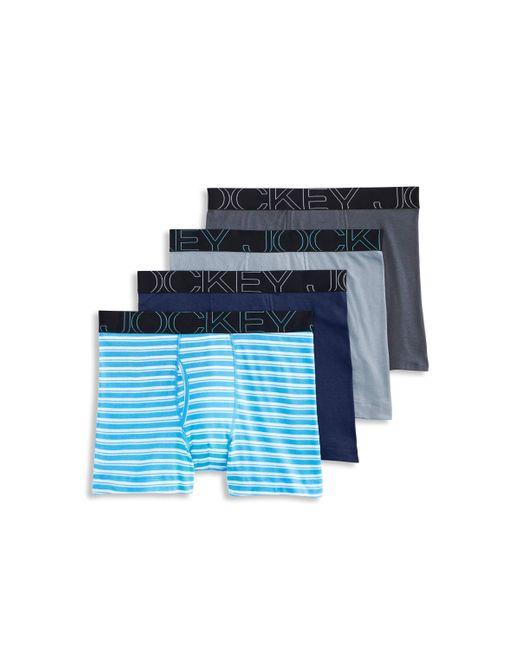 Jockey Blue Active Blend Boxer Brief 4-pack for men
