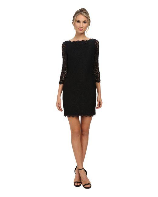 Adrianna Papell | Black L/s Lace Dress | Lyst