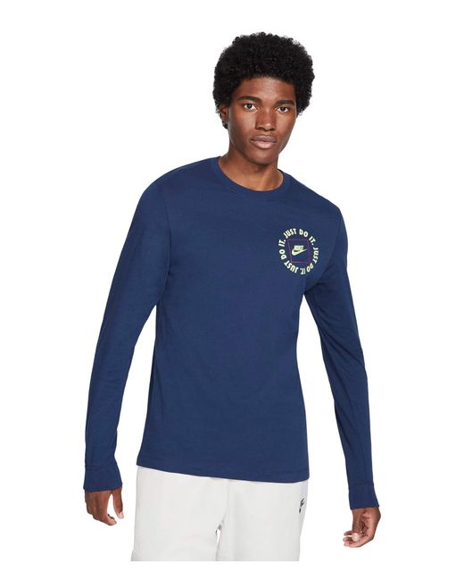 Nike Blue Nsw Long Sleeve Just Do It 1 Tee Clothing for men