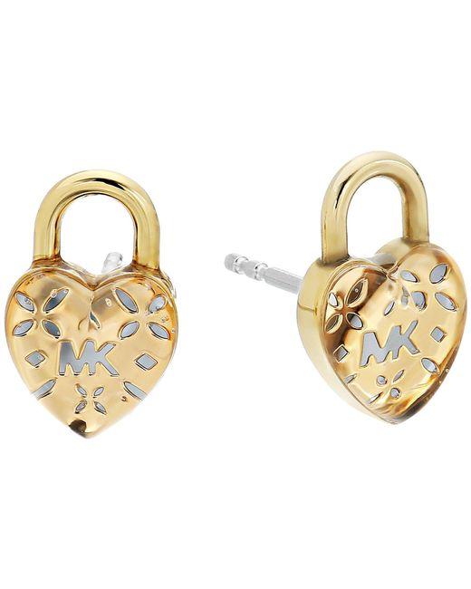 Michael Kors   Metallic Love Logo Heart Lock Stud Earrings   Lyst