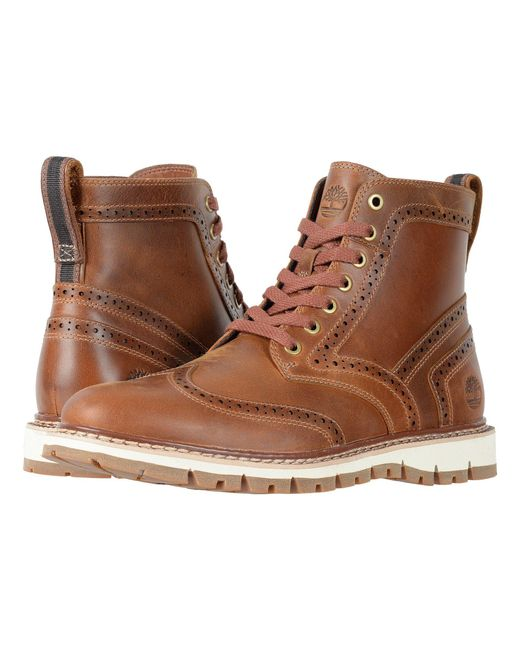 Timberland - Britton Hill Wing Tip Boot (medium Brown Full Grain) Men's Boots for Men - Lyst