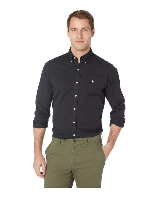 fa037d141 Polo Ralph Lauren - Long Sleeve Classic Fit Garment Dyed Chino (polo Black)  Men s ...