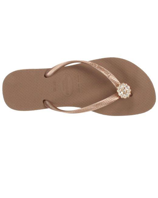 4bc8c8c4442 ... Havaianas - Pink Slim Crystal Poem Flip Flops (navy Blue 1) Women s  Sandals ...