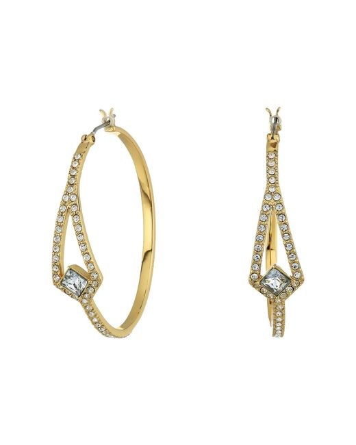 Vince Camuto - Metallic Crystal Pave Hoop Earrings (gold) Earring - Lyst