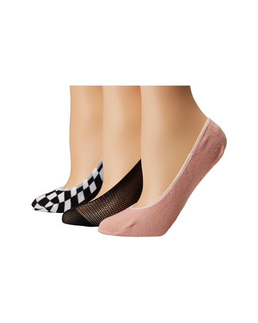 Steve Madden - Black 3-pack Footie Mesh With Check - Lyst