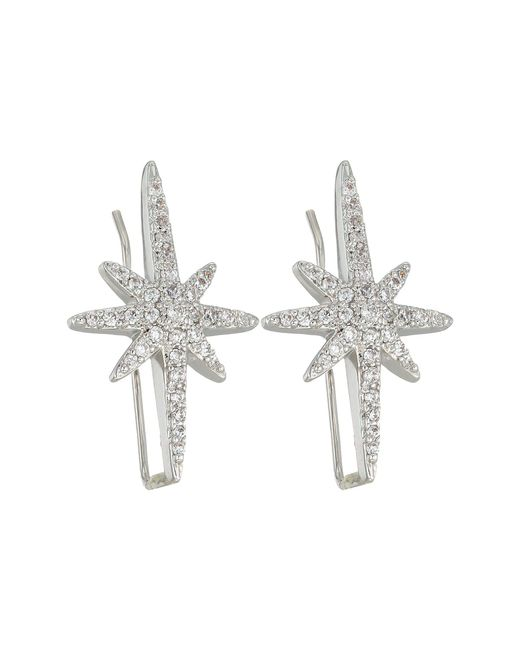 Betsey Johnson - Metallic Blue By Silver Tone Earrings Climbers With Pave Crystal Accented Starburst (crystal) Earring - Lyst