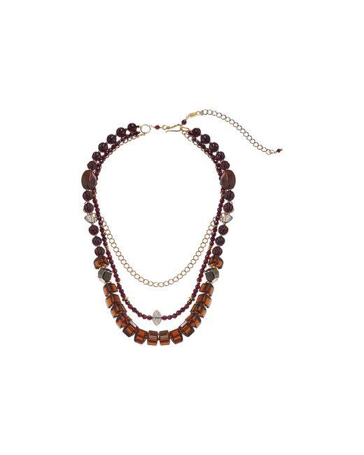 Chan Luu Metallic Adjustable Strand Necklace With Semi Precious Stones