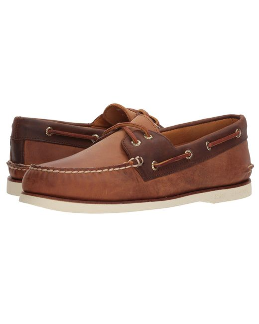Sperry Top-Sider - Brown Gold A/o 2-eye Roustabout (grey/navy) Men's Shoes for Men - Lyst