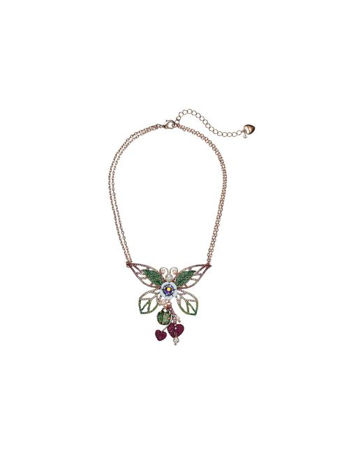 Betsey Johnson - Colorful Pink And Green Tonal Butterfly Pendant Necklace (pink) Necklace - Lyst