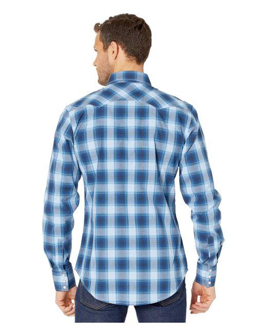 Wrangler Blue Retro Long Sleeve Plaid Snap for men