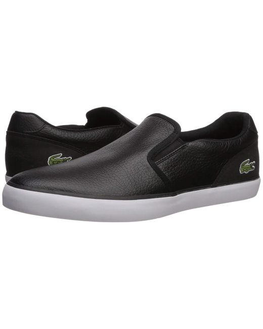 Lacoste Jouer Slip 319 1 Logo Casual Slip On Loafer shoes Sneakers Black White