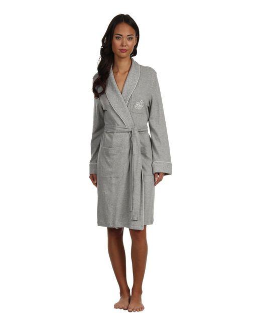 Lauren by Ralph Lauren - Gray Essentials Quilted Collar And Cuff Robe (white) Women's Robe - Lyst