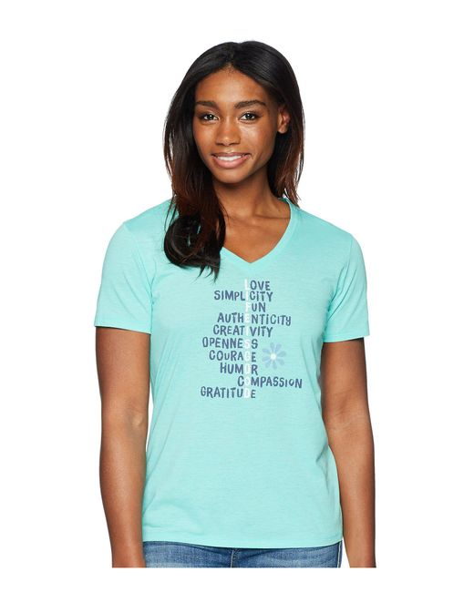 Life Is Good. - Blue Lig Superpowers Cool Vee Tee (cool Aqua) Women's T Shirt - Lyst
