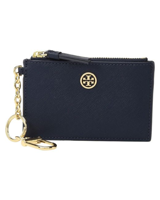 Tory Burch - Blue Robinson Card Case Key Fob (pale Apricot/royal Navy) Wallet - Lyst