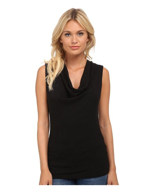 Michael Stars - Black Shine Sleeveless Drape Neck - Lyst