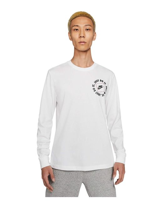Nike White Nsw Long Sleeve Just Do It 1 Tee Clothing for men