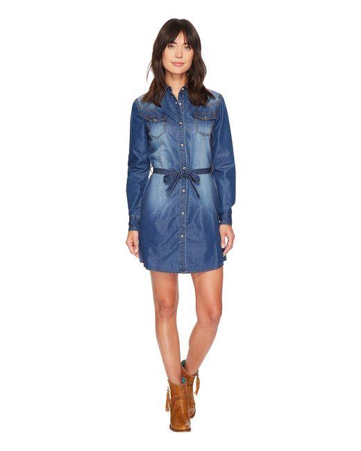 cdaf964be74 Wrangler Western Denim Shirt Dress in Blue - Save 4% - Lyst