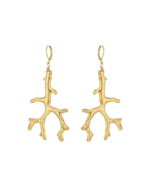 Kenneth Jay Lane | Metallic Polished Gold Branch Eurowire Ear Earrings | Lyst