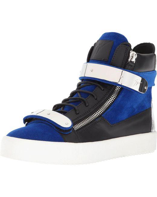 Blue Flocked May London High-Top Sneakers Giuseppe Zanotti N9B6P