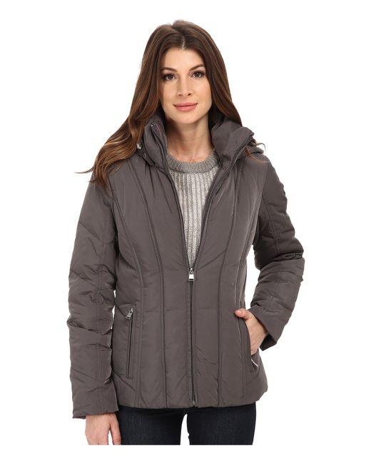 CALVIN KLEIN 205W39NYC - Gray Short Down Coat W/ Untrimmed Hood - Lyst