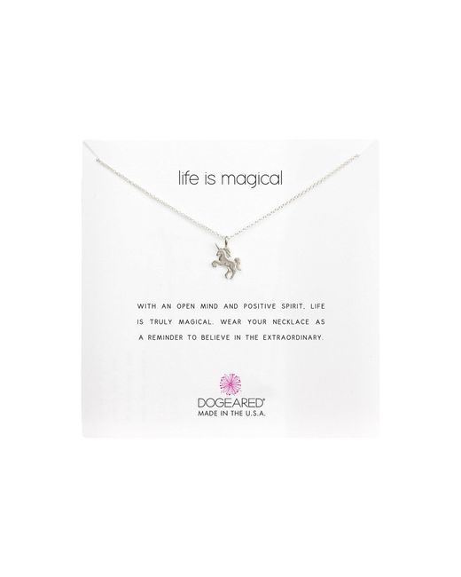Dogeared Metallic Life Is Magical Unicorn Reminder Necklace