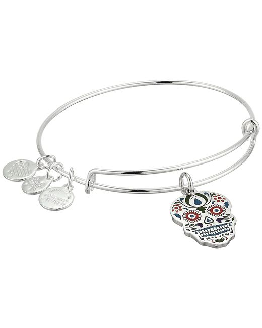ALEX AND ANI - Metallic Color Infusion Calavera Bangle (shiny Gold) Bracelet - Lyst