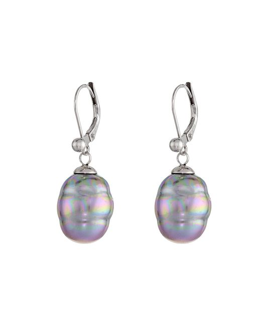 Majorica - Purple 12mm Baroque Pearl Drop Earrings - Lyst