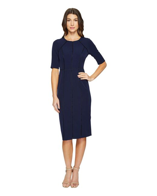 Maggy London - Blue Dream Crepe Sheath Dress With Elbow Sleeve - Lyst