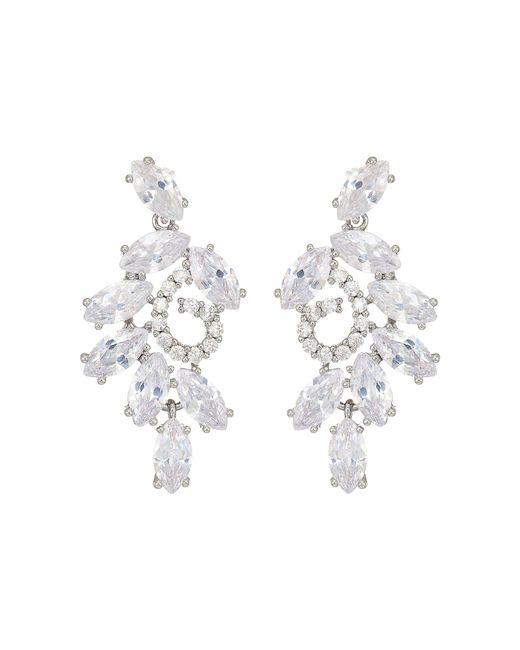 Nina - Multicolor Cluster Branch Stud Earrings (rhodium/white Cz) Earring - Lyst