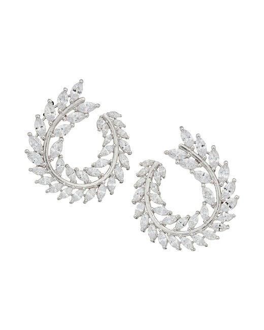 Nina - Multicolor Front To Back Fern Hoop Earrings (rhodium/white Cz) Earring - Lyst