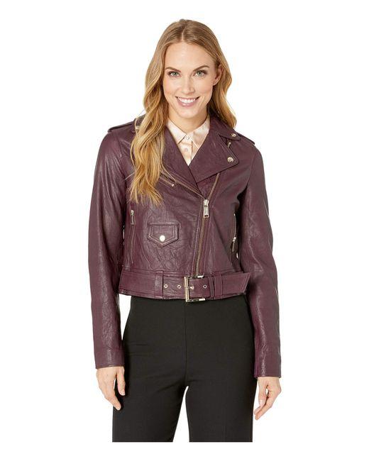 MICHAEL Michael Kors - Multicolor Classic Moto Jacket (cordovan) Women's Coat - Lyst