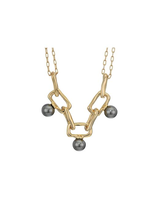 Alexis Bittar Metallic Pearl Studded Chain Link Necklace