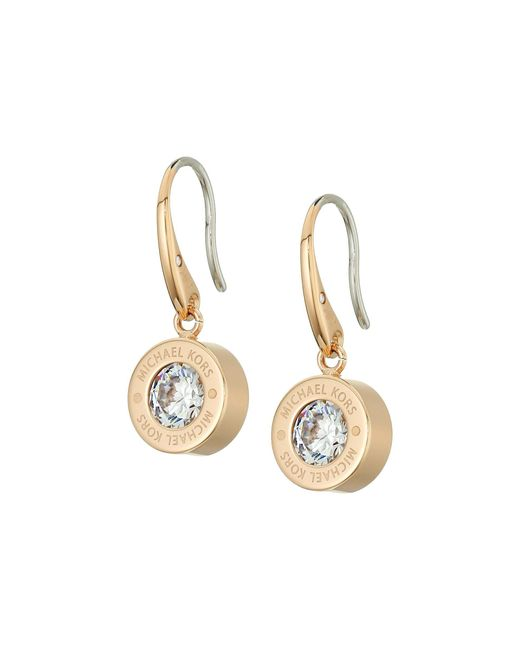 Michael Kors | Metallic Cubic Zirconium Logo Drop Earrings | Lyst