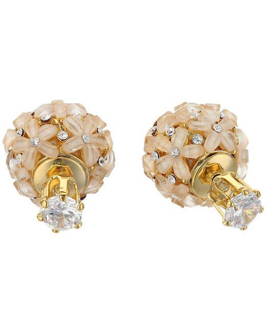 Nina - Metallic Front To Back Flower Ball Earrings (rhodium/white Cz) Earring - Lyst