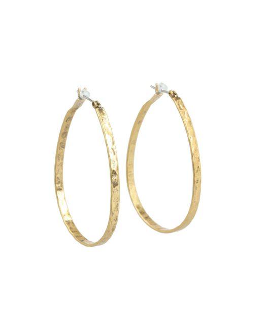 Lucky Brand - Metallic Textured Medium Oblong Hoops (gold) Earring - Lyst