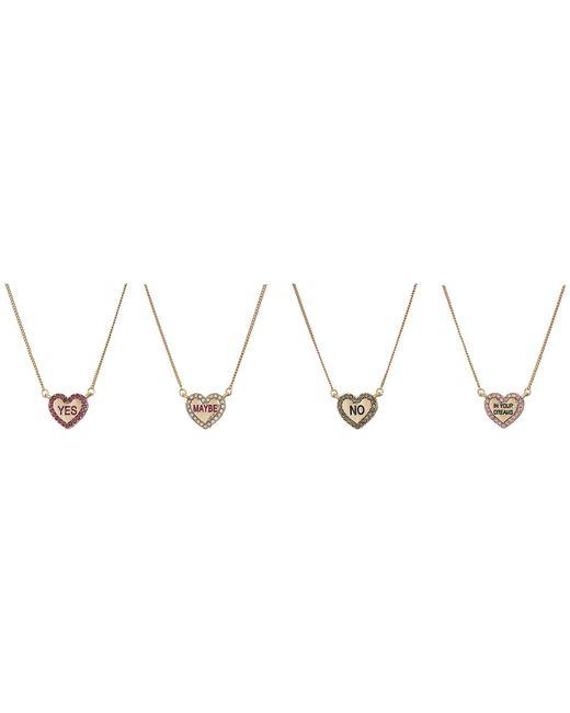 Betsey Johnson - Pink Conversation Heart 4 Pendant Set Necklace - Lyst