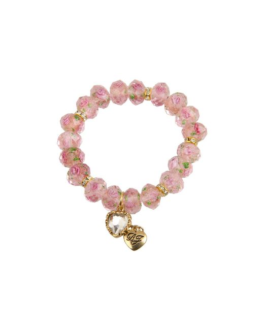 Betsey Johnson Pink Flower Beaded Stretch Bracelet