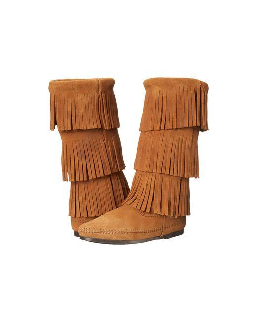 Minnetonka | Brown Calf Hi 3-layer Fringe Boot | Lyst