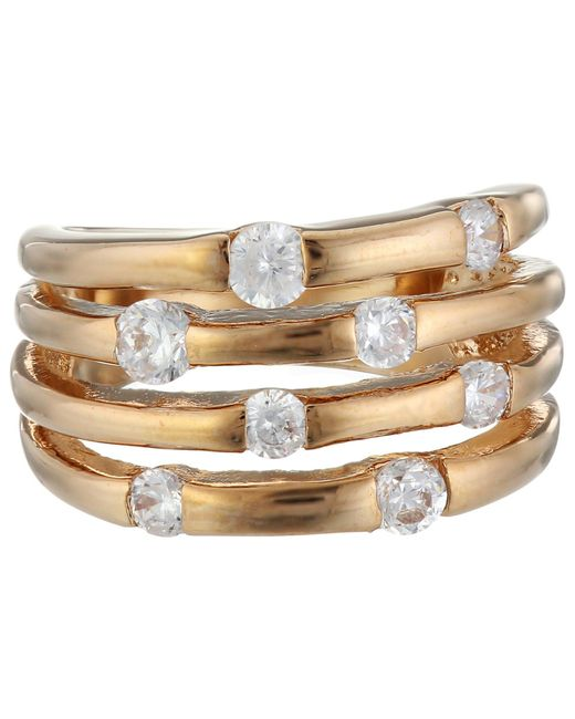 Guess - Pink 4 Band Stone Ring - Lyst