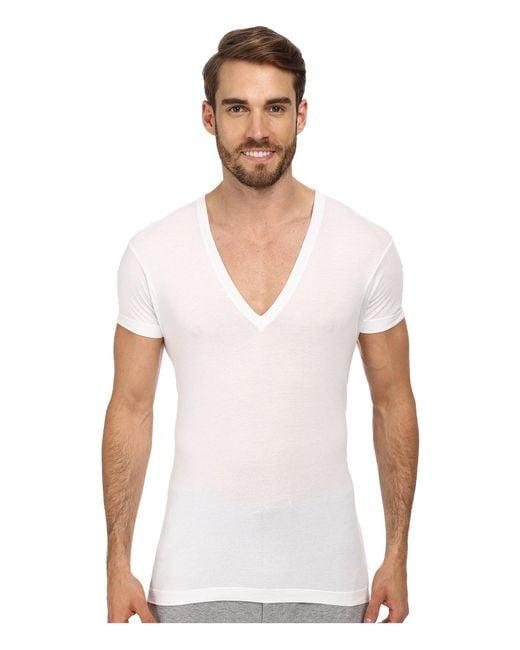 2xist White 2(x)ist Pima Slim Fit Deep V-neck T-shirt T Shirt for men