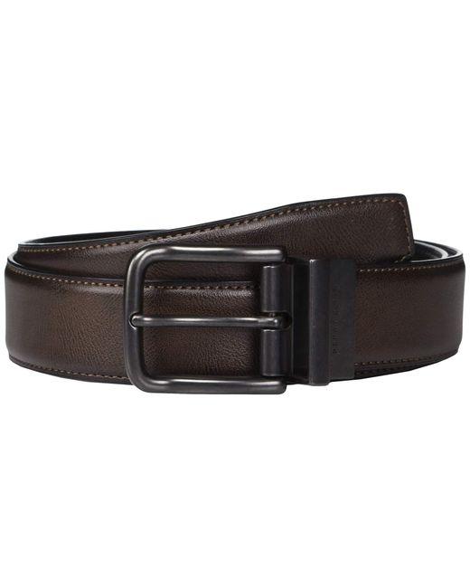 Perry Ellis Men/'s Portfolio Braided Belt Leather Luggage 34 Prong Metal Buckle